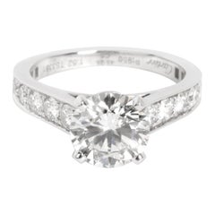Cartier Solitaire Diamond Engagement Ring in Platinum G VS1 2.10 Carat