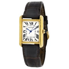 Cartier Solo 2441 Brown Leather Strap Tank Watch