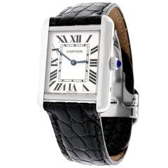 "Cartier ""Solo"" Stainless Steel Tank Watch Quartz"