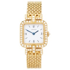 Cartier Sonate Paris Diamond 18 Karat Yellow Gold 8914000 or 8035 Wristwatch