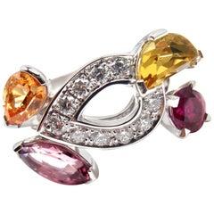 Cartier Sorbet Diamond Tourmaline Sapphire White Gold Ring