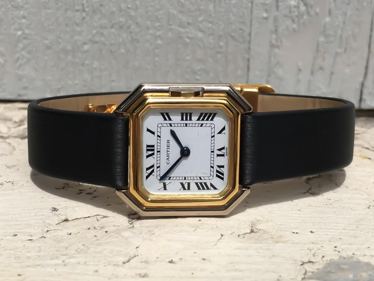 Cartier Square Hexagonal Godron 18K Two-Tone Mechanical Watch Fabric Strap In Good Condition In Carmel-by-the-Sea, CA