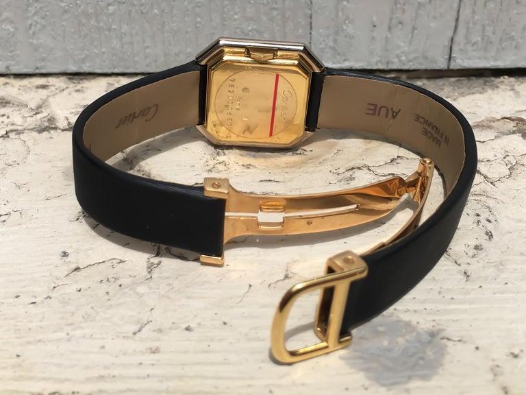 Women's Cartier Square Hexagonal Godron 18K Two-Tone Mechanical Watch Fabric Strap