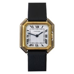 Cartier Square Hexagonal Godron 18K Two-Tone Mechanical Watch Fabric Strap