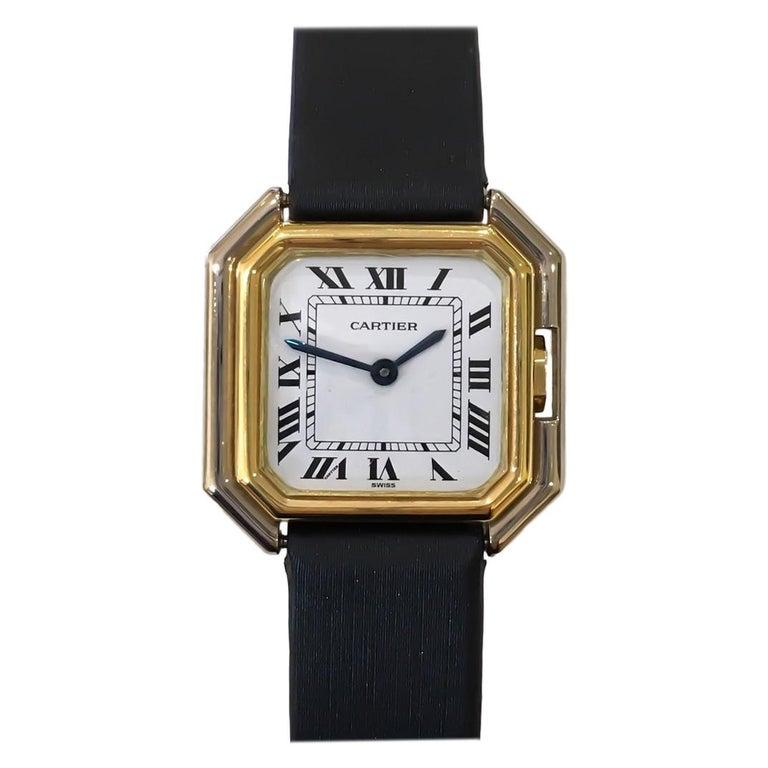 Cartier Square Hexagonal Godron 18K Two-Tone Mechanical Watch Fabric Strap