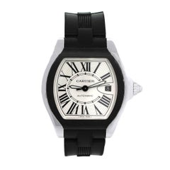 Cartier Stainless Steel Black Rubber Roadster Automatic Wristwatch Ref 3312