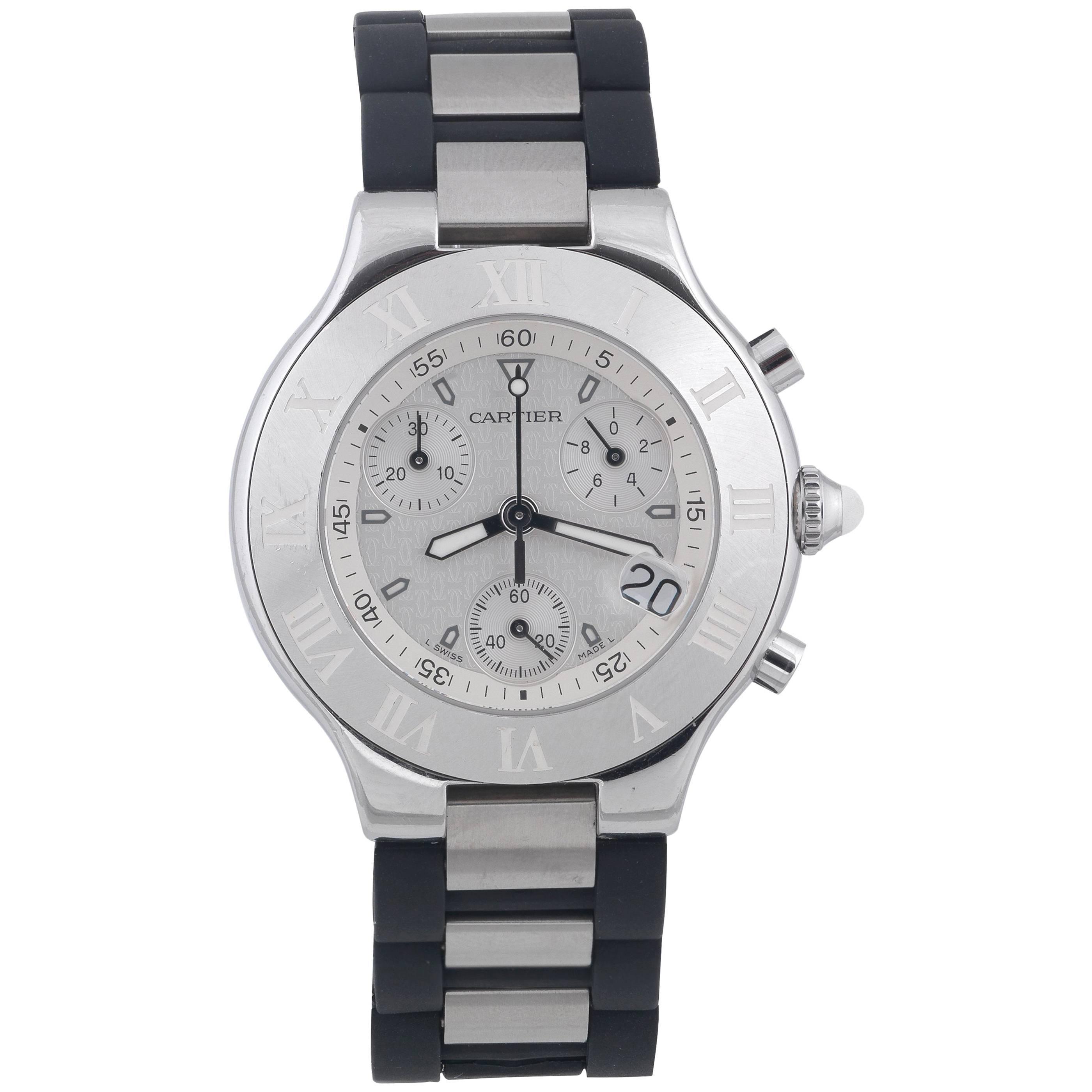 Cartier Stainless steel Chronoscaph 21 Chronograph quartz wristwatch