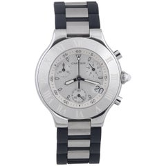 Cartier Stainless steel Chronoscaph 21 Chronograph quartz wristwatch
