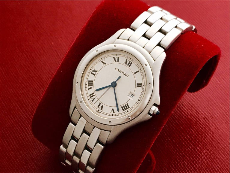 Contemporary Cartier Stainless Steel Cougar Midsize Quartz Wristwatch For Sale