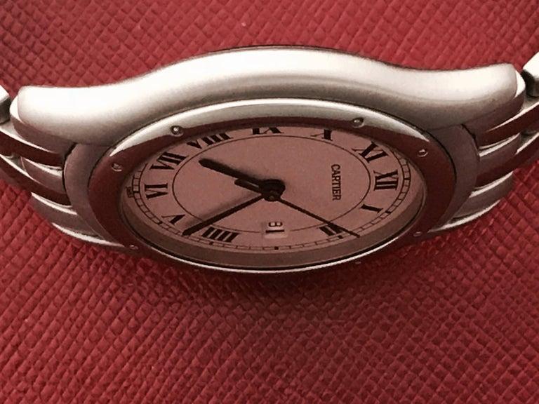 Women's or Men's Cartier Stainless Steel Cougar Midsize Quartz Wristwatch For Sale
