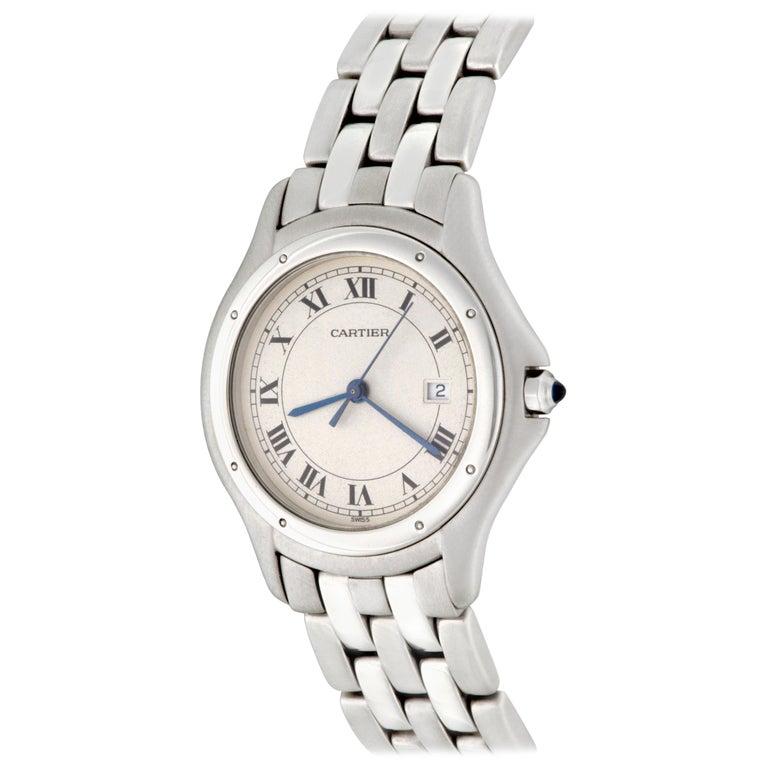 Cartier Stainless Steel Cougar Midsize Quartz Wristwatch For Sale