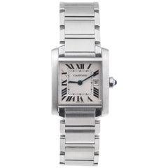 Cartier Stainless Steel Mid-Size Tank Francaise Quartz Wristwatch