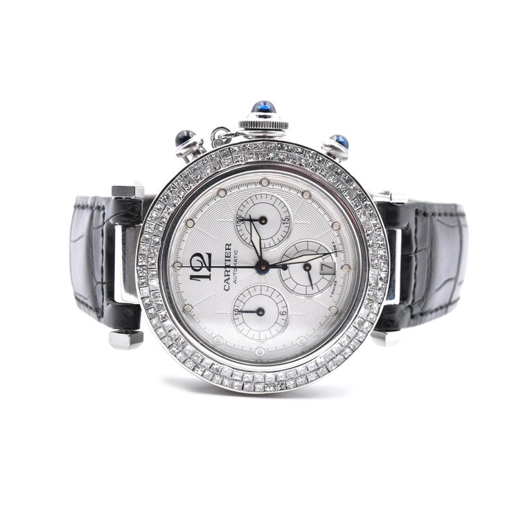 Cartier Stainless Steel Pasha Watch with Custom Diamond Bezel In Excellent Condition In Scottsdale, AZ