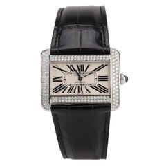 Cartier Stainless Steel Silver Roman Dial Tank Divan Watch W6300755