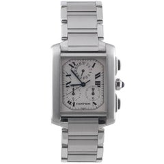 Cartier Stainless Steel Tank Francaise Chronoflex Chronograph Quartz Wristwatch