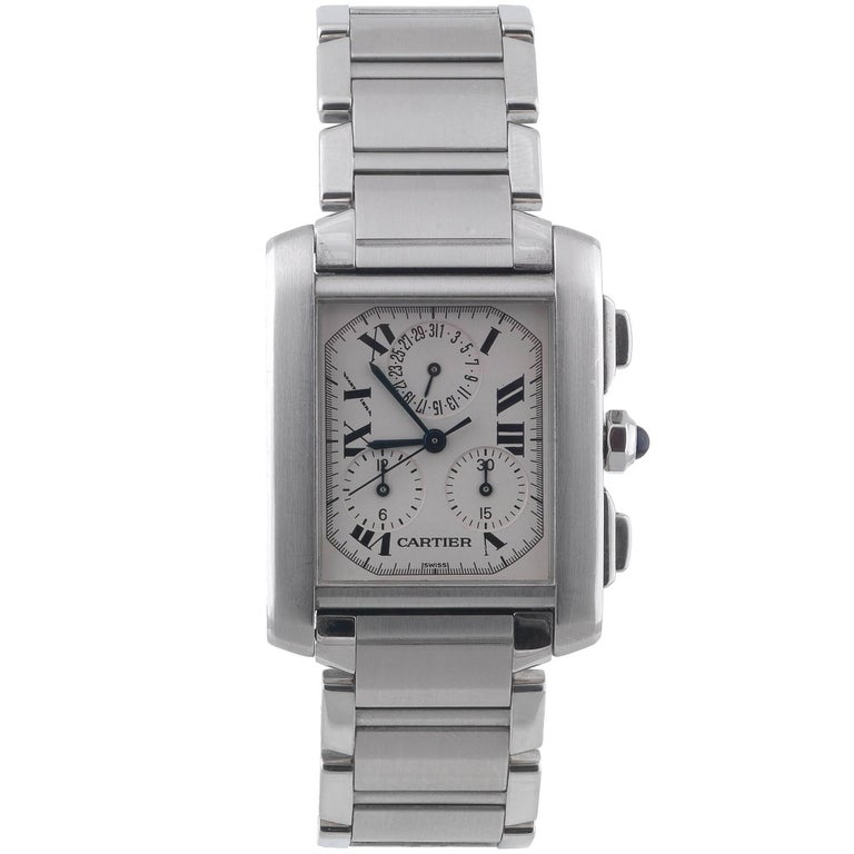 Cartier Stainless Steel Tank Francaise Chronoflex Chronograph Quartz Wristwatch