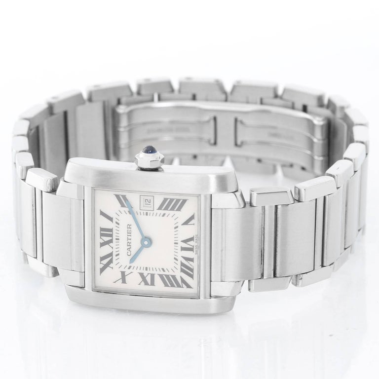 Cartier Stainless Steel Tank Francaise Quartz Wristwatch In Excellent Condition For Sale In Dallas, TX
