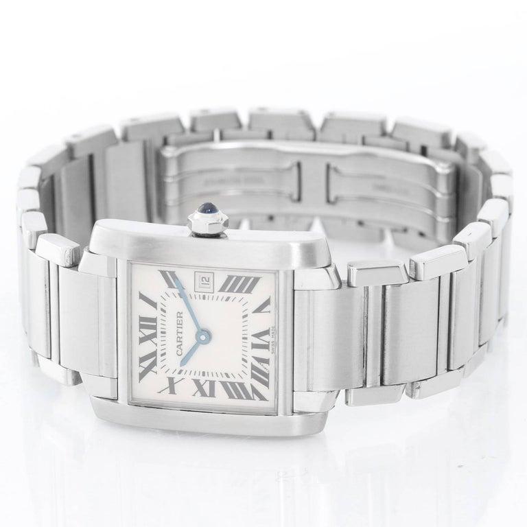 Cartier Stainless Steel Tank Francaise Quartz Wristwatch 3