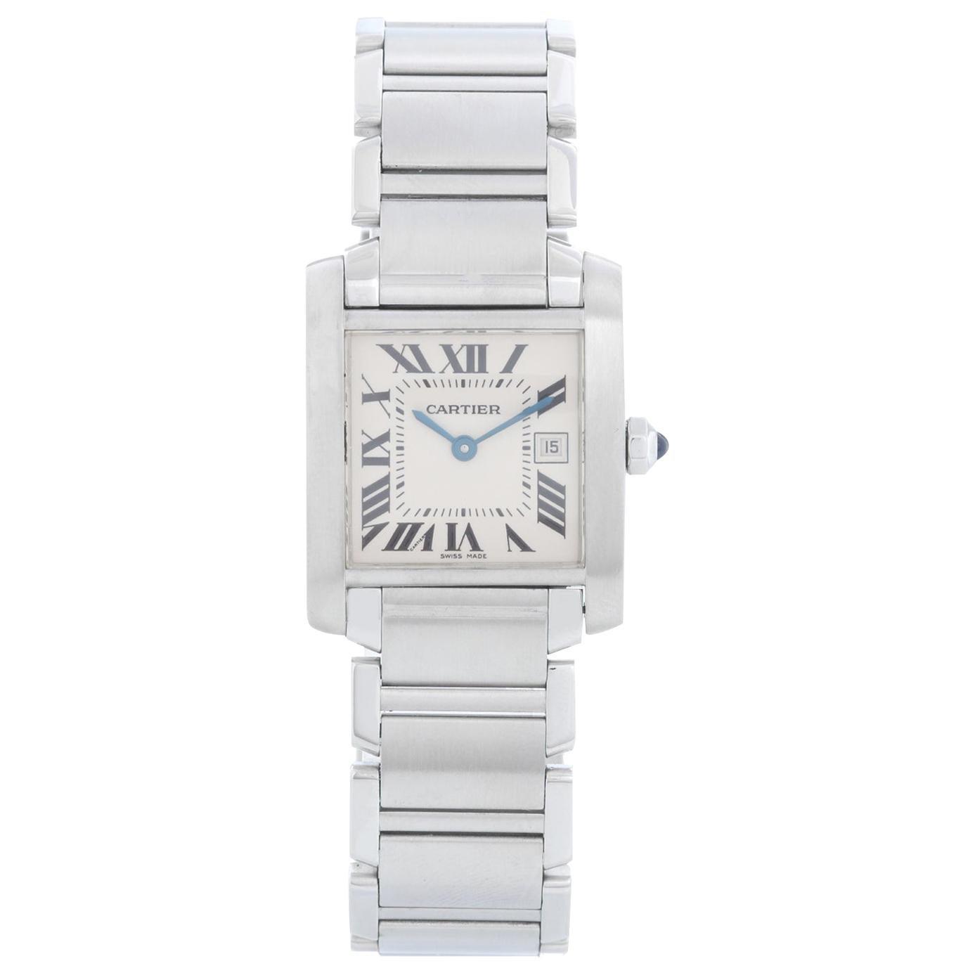 Cartier Stainless Steel Tank Francaise Quartz Wristwatch
