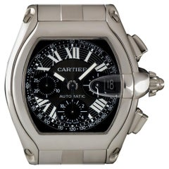 Cartier Steel Black Dial Roadster Chronograph XL W62019X6 Automatic Wristwatch