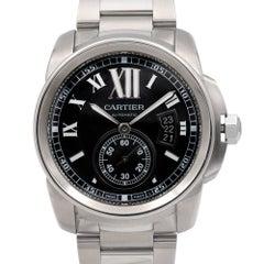 Cartier Stainless Steel Calibre De Cartier Black Dial Automatic Wristwatch