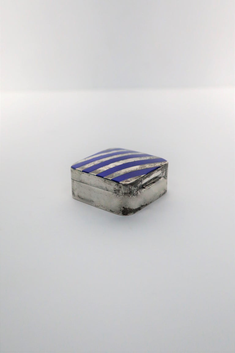 Italian Cartier Sterling Silver and Blue Enamel Pill Box For Sale