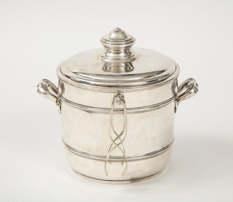 French Cartier Sterling Silver Art Deco Ice Bucket with Ice Tongs and Original Box For Sale