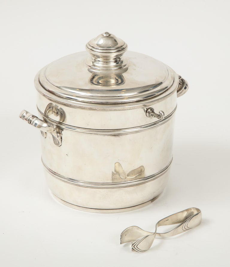 Mid-20th Century Cartier Sterling Silver Art Deco Ice Bucket with Ice Tongs and Original Box For Sale