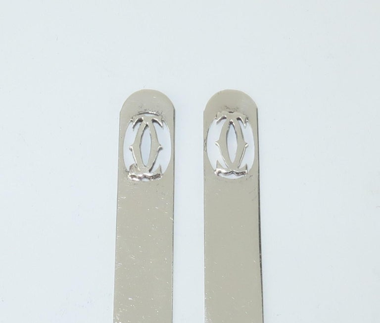 Modern Cartier Sterling Silver Logo Collar Stays For Sale
