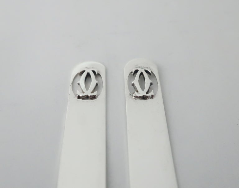 Cartier Sterling Silver Logo Collar Stays For Sale 2