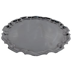 Cartier Sterling Silver Serving Tray with Georgian Piecrust Rim
