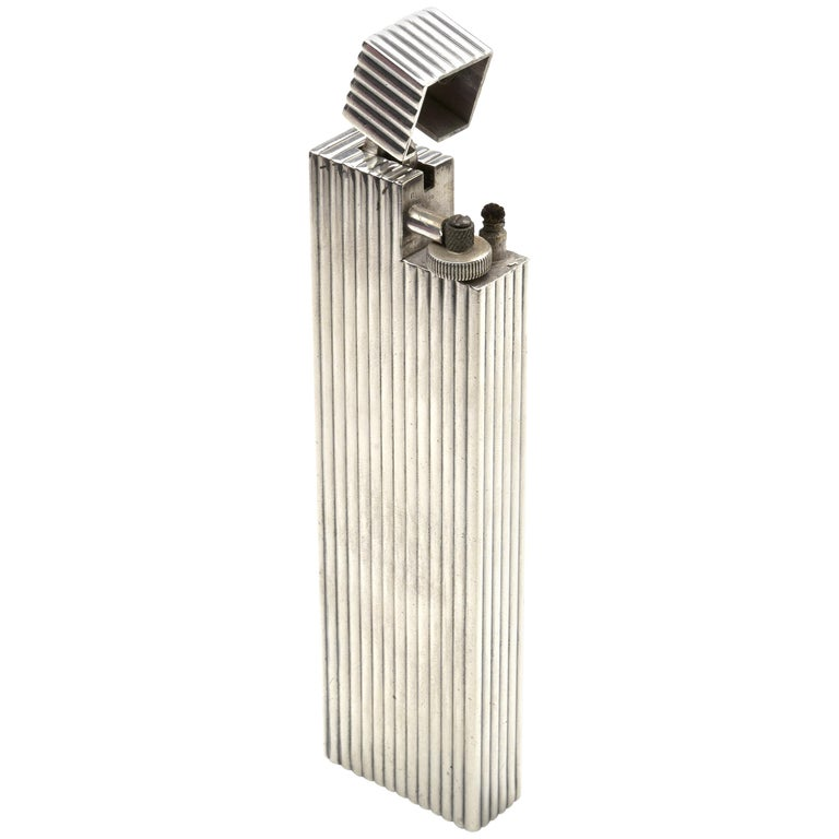Cartier Sterling Silver Table Lighter, 1930s For Sale