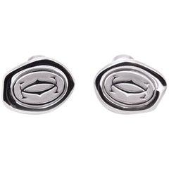 Cartier Sterling Silver Wax Seal Motif Cufflinks