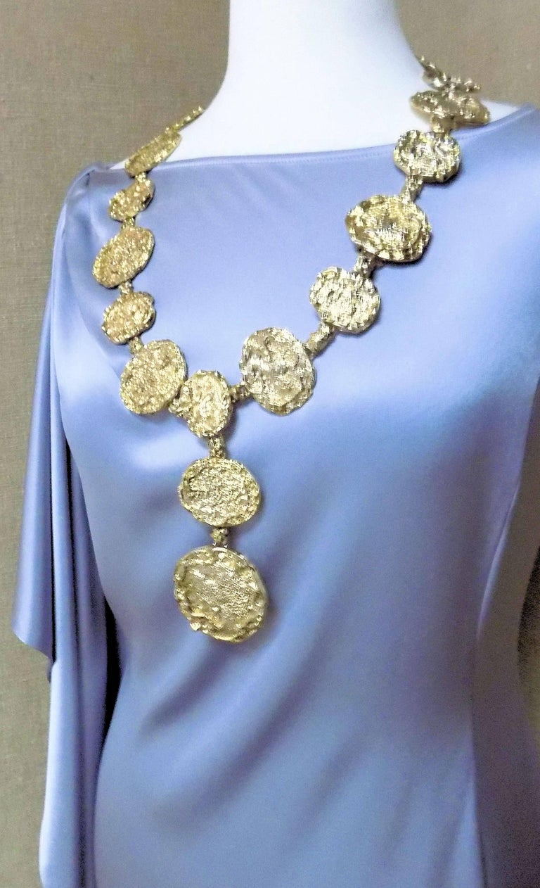 Sterling Silver/Gold Plate Necklace/Belt 20 Oval Textured Medallions 29.5