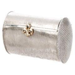 CARTIER Sterling Textured Brush Silver Evening Bag Minaudière