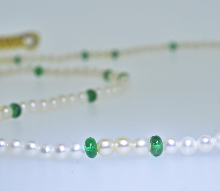 Contemporary Cartier Strand of Natural Pearls and Emerald Beads For Sale