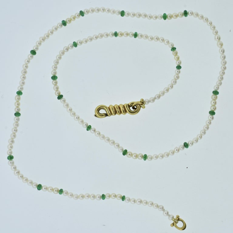 Women's or Men's Cartier Strand of Natural Pearls and Emerald Beads For Sale