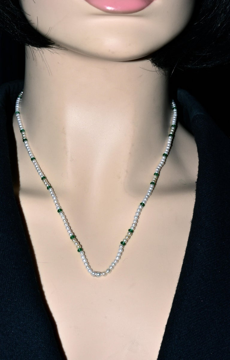 Cartier Strand of Natural Pearls and Emerald Beads For Sale 1