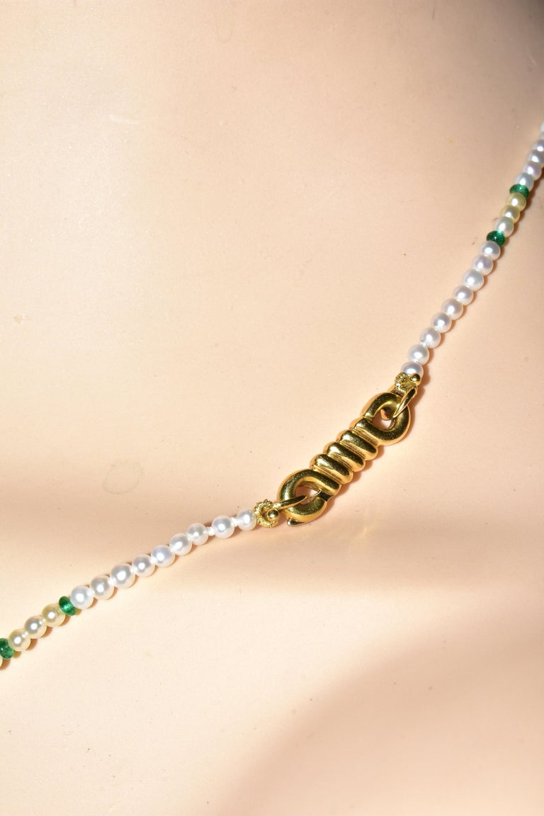 Cartier Strand of Natural Pearls and Emerald Beads For Sale 3