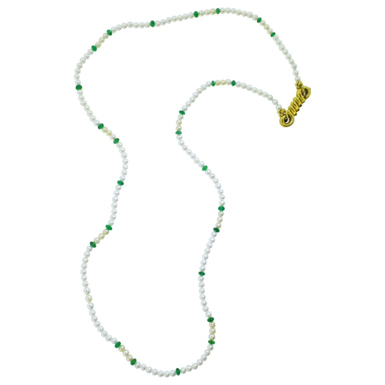 Cartier Strand of Natural Pearls and Emerald Beads For Sale