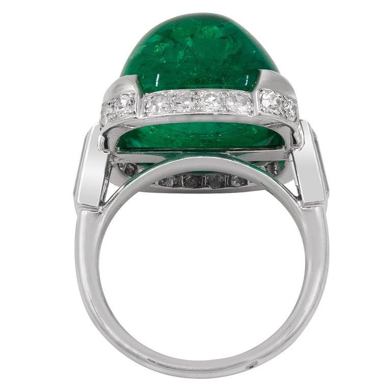 Art Deco Cartier Sugar Loaf Emerald Ring For Sale