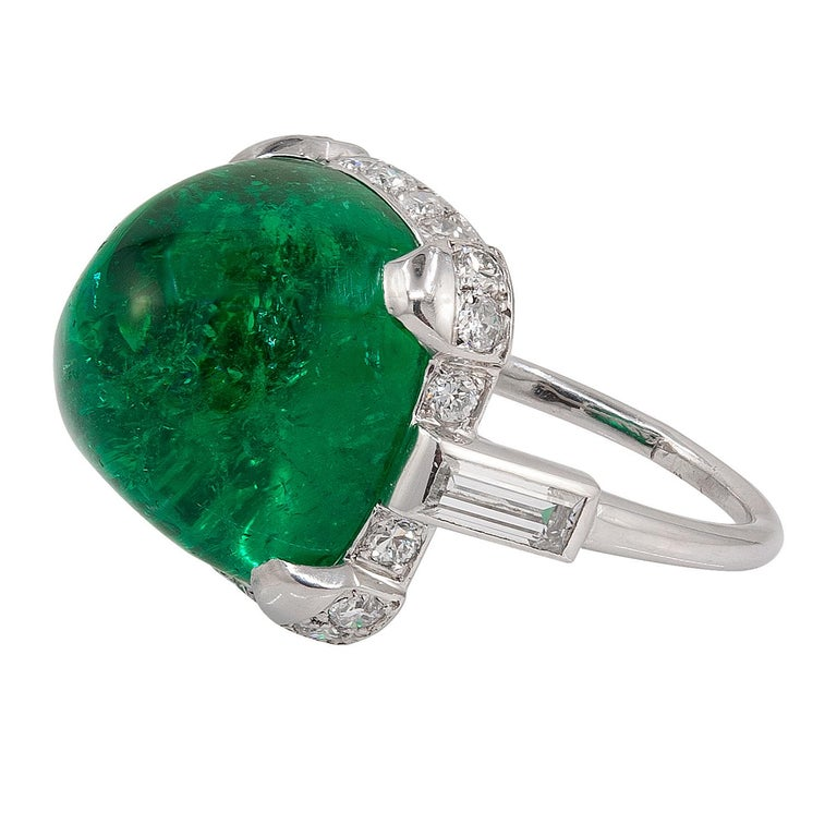 Sugarloaf Cabochon Cartier Sugar Loaf Emerald Ring For Sale