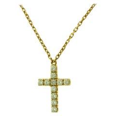 Cartier Symbols Holy Diamond Cross 18 Karat Yellow Gold Pendant Necklace