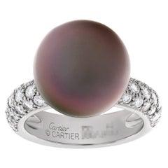 Cartier Tahitian Black Pearl & Diamond Ring in 18k White Gold
