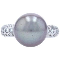 Cartier Tahitian Pearl and Diamond Ring White Gold, 18 Karat Round .90 Carat