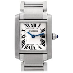 Cartier Tank 2384 Stainless Steel White Dial Quartz Watch
