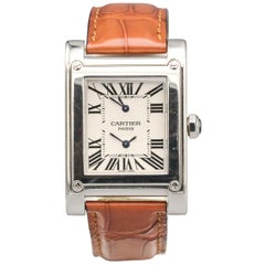 Cartier Tank A Vis 18KWG 2 Time Zones Ref 2552 Skeleton Back Wristwatch