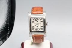 Cartier Tank A Vis 18KWG 2 Time Zones Ref 2552 Skeleton Back Wristwatch