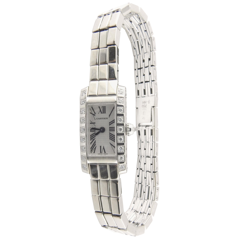 Cartier Tank Allongee Lanieres 2544 18 Karat White Gold Diamond Ladies Watch Box