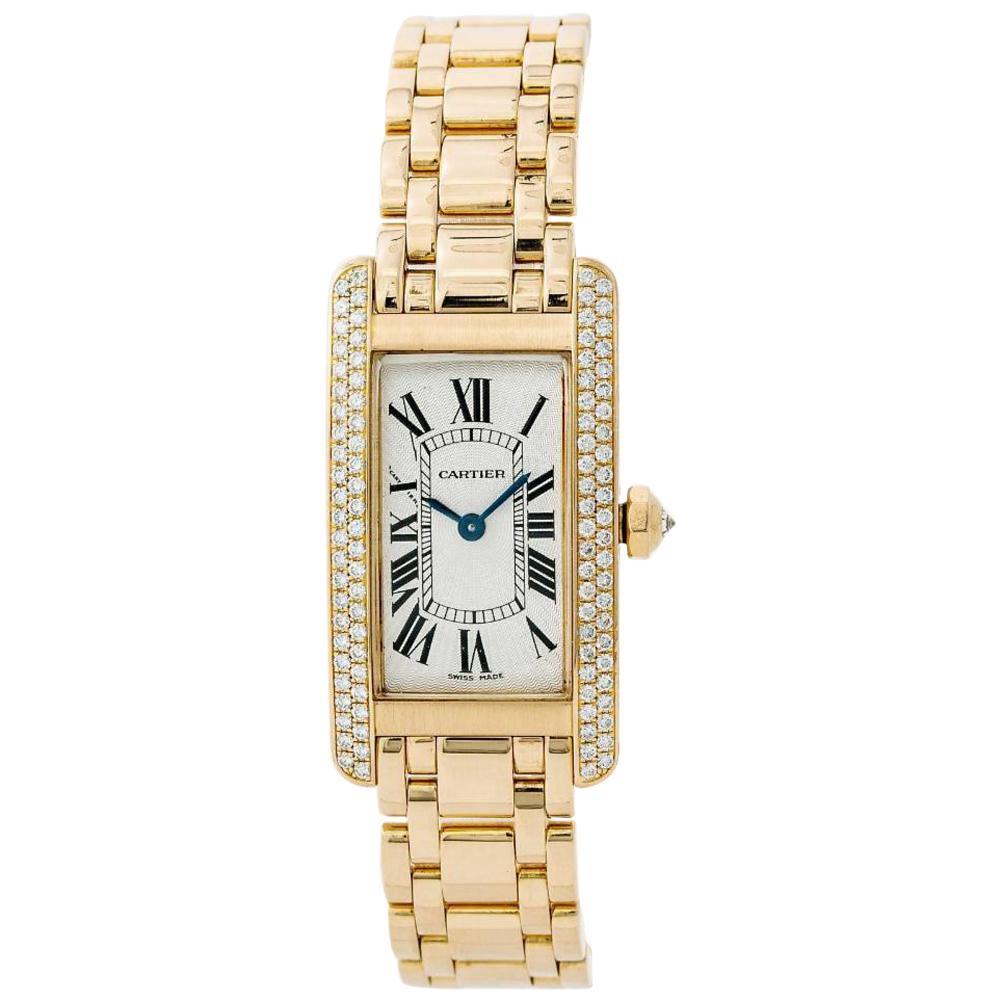 Cartier Tank Americaine 1710 Womens Quartz Watch 18 Karat Yellow Gold White Dial